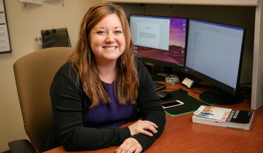 image of Rachel Garthe sitting at desk