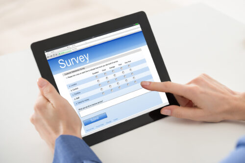 image of ipad with survey