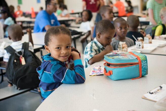 image of child eating lunch at school