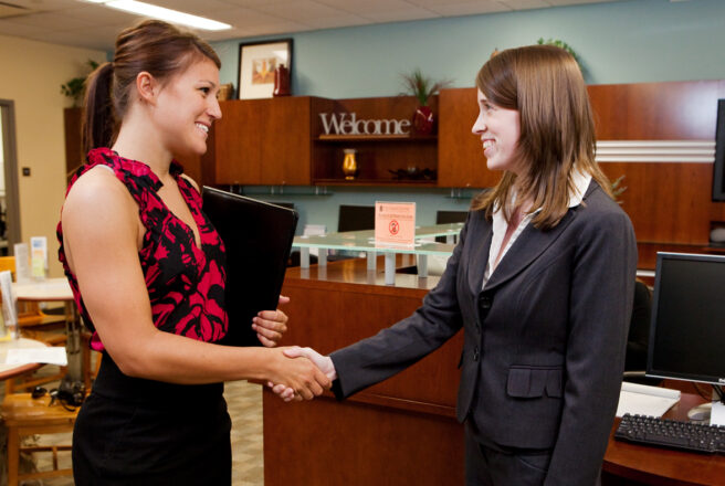 shaking hands at career center