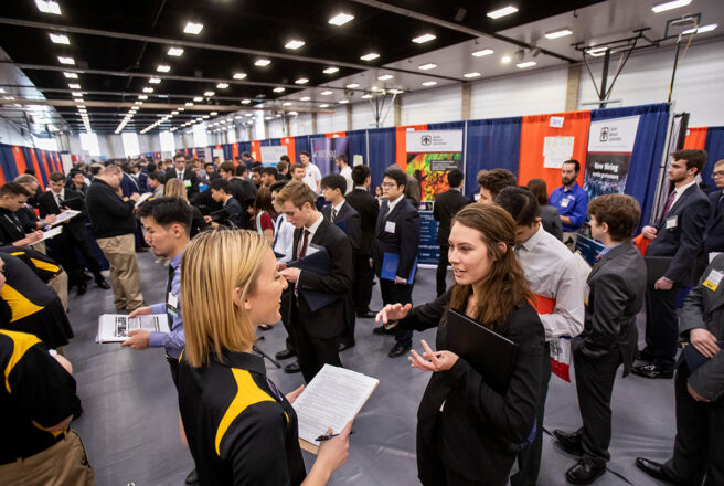 students at job fair