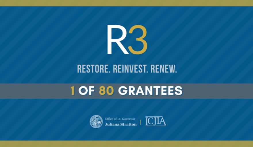 blue graphic promoting R3 state grant