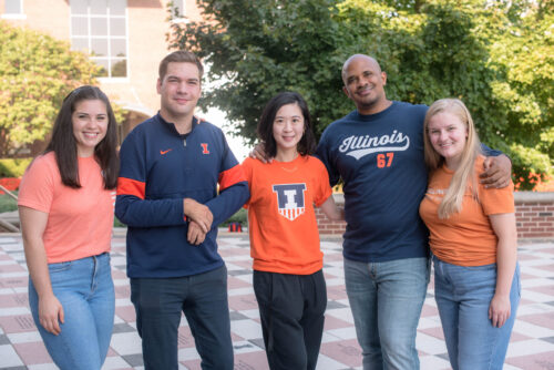 group of SSW students in Illini apparel